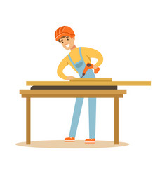 Young carpenter man drilling wood in his workshop vector