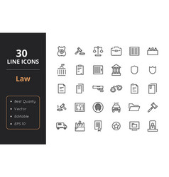 30 law and police icons vector image