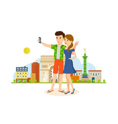 Couple in love travel to paris make selfie vector