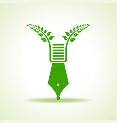 eco pen with green leaf stock vector image vector image