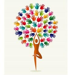 India yoga hands tree vector image