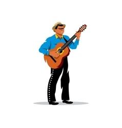 Latino musician with guitar Cartoon vector image