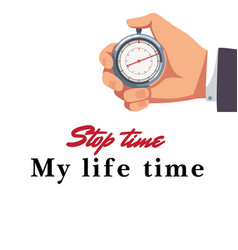 male hand holding stopwatch background imag vector image