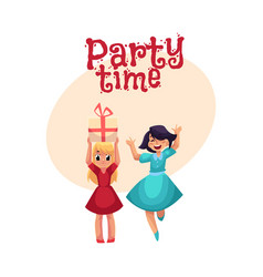 two girls having fun at birthday party dancing vector image