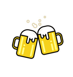 two mugs of beer flat line vector image vector image