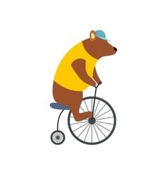 Vintage bear on bike icon vector image vector image