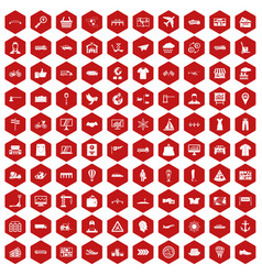 100 logistic and delivery icons hexagon red vector
