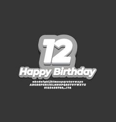 12 twelve year celebration birthday 3d grey design vector