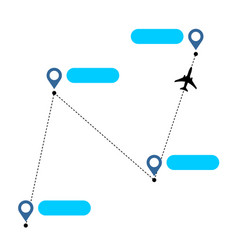 airplane line path with straight segments with vector image