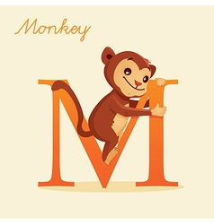 Animal alphabet with monkey vector
