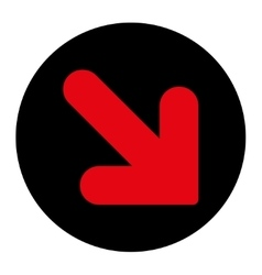Arrow Down Right flat intensive red and black vector