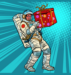 Astronaut birthday with a gift african american vector