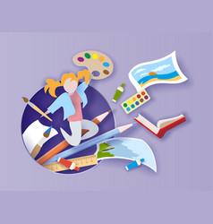 back to school paper cut cartoon girl loving vector image