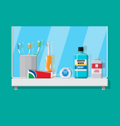 Bathroom mirror and dental cleaning tools vector