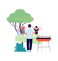 bbq party parent and children eating on nature vector image