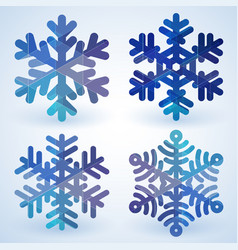 blue cristal snowflakes vector image