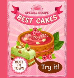 Bright colorful tasty cakes poster vector