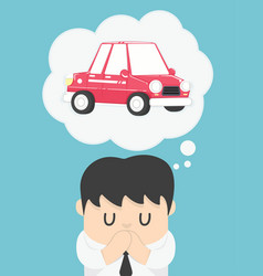 business man dreaming about car vector image