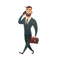 business man walking with phone and suitcase vector image