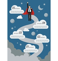 Businessman Superhero Flying Infographic vector