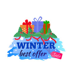 card winter sale and best offer present gift vector image