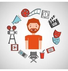 cartoon boy movie cinema icons vector image