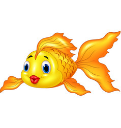 Cartoon goldfish on transparent background vector