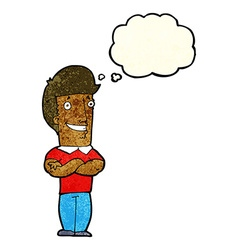 Cartoon man with folded arms grinning with thought vector