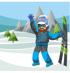 Cartoon skier in ski suit waving hello hand vector