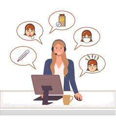 character female call center medical care online vector image