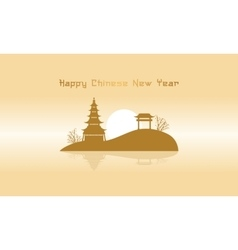 Chinese landscape with pavilion silhouettes vector image