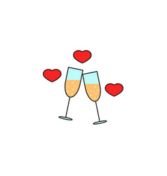Clinking champagne glasses with hearts solid icon vector