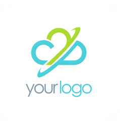 cloud circle logo vector image