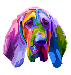 colorful bloodhound dog isolated on pop art style vector image