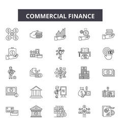 commercial finance line icons signs set vector image