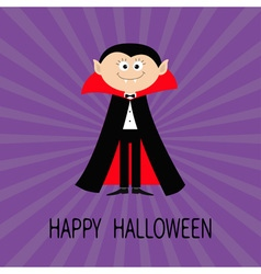 Count Dracula wearing black and red cape Cute vector