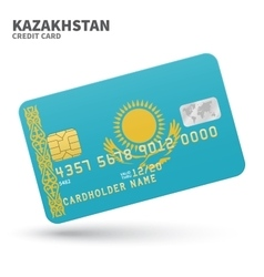 Credit card with Kazakhstan flag background for vector