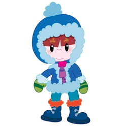 Cute boy in winter clothes vector image