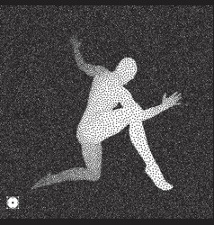 Dancer 3d model of man black and white grainy vector