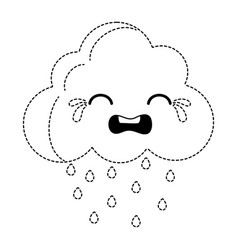 Dotted shape crying natural cloud weather kawaii vector