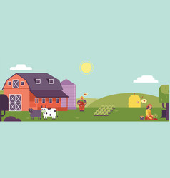 Farm landscape horizontal banner or header with vector