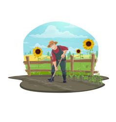 Farmer digging soil in farm garden with shovel vector