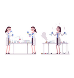 Female scientist making chemical experiments vector