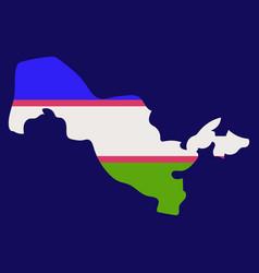 Flag map of uzbekistan vector