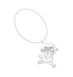 flat girl child running with air balloons vector image