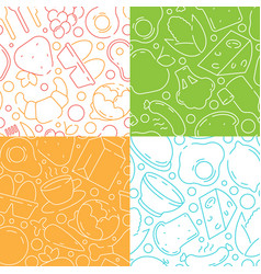 food patterns healthy products chicken fish vector image