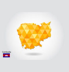 geometric polygonal style map of cambodia low vector image