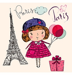 Girl in Paris color vector