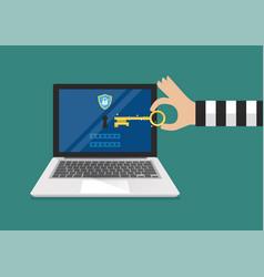 hacker try to unlock laptop vector image