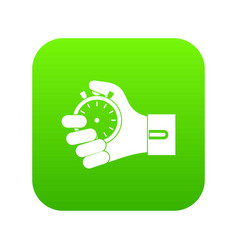 hand holding stopwatch icon digital green vector image